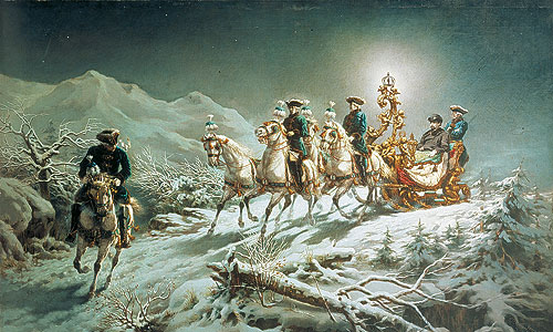 "Picture: Painting ""King Ludwig II sleighing in the mountains by night"""