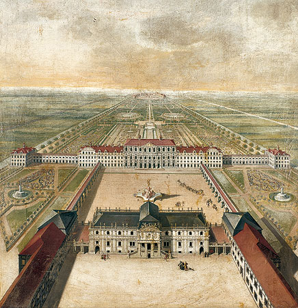 Picture: Idealized view of the Schleißheim Old and New Palaces, Nikolaus Gottfried Stuber