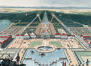 Picture: Nymphenburg Palace, gouache by M. de Geer, around 1730